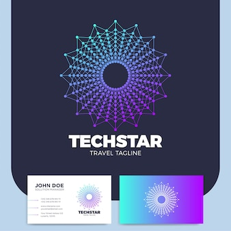 Lettre o connecté élément de conception de logo de réseau cercle ou logotype étoile connectée