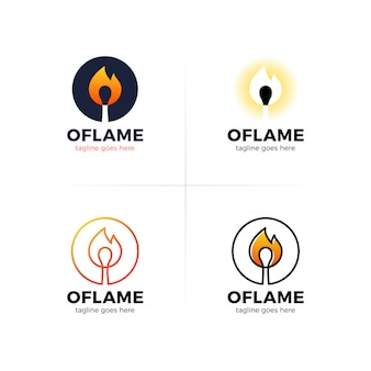 Lettre o logo avec allumette de feu au centre.