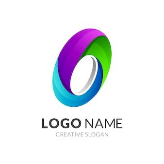Lettre o logo coloré
