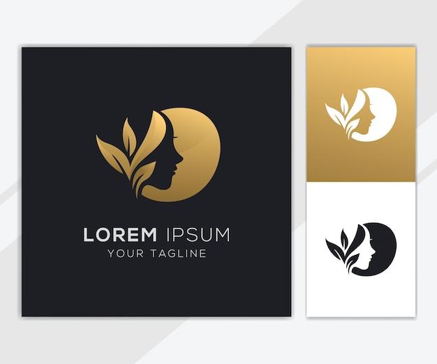 Lettre o avec modèle de logo de beauté féminine naturelle de luxe