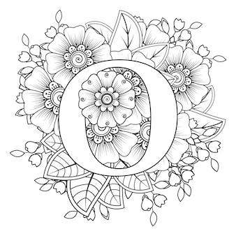 Lettre o avec ornement décoratif de fleur de mehndi dans la page de livre de coloriage de style oriental ethnique