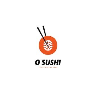 Lettre o sushi avec l'icône du logo du restaurant japonais baguettes