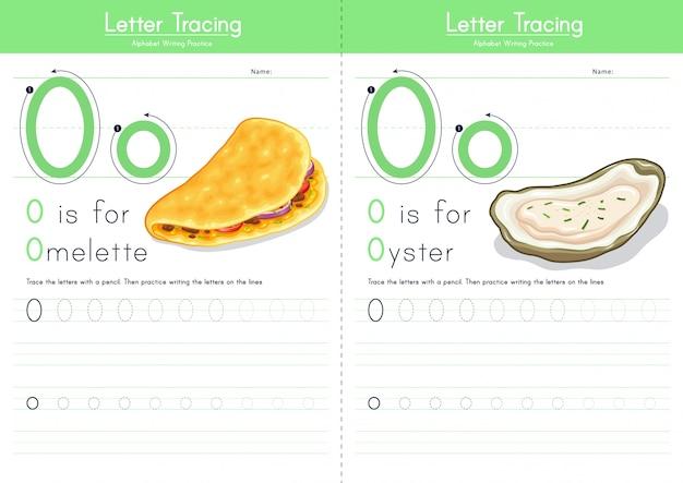 Lettre o traçant l'alphabet alimentaire