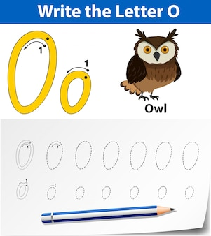 Lettre o traçant des feuilles d'alphabet