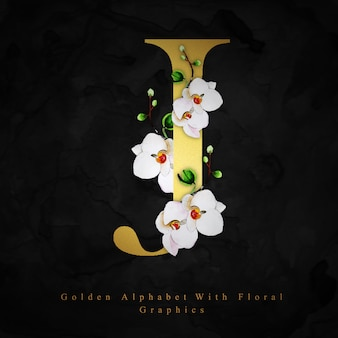 Lettre d'or j aquarelle fond floral