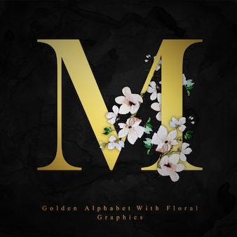 Lettre d'or m aquarelle floral fond