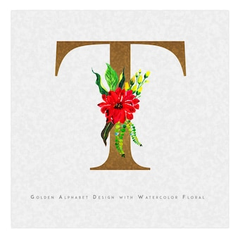 Lettre d'or t aquarelle fond floral