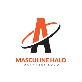 Une lettre orange et noir anneau géométrique masculin logo vector illustration icône