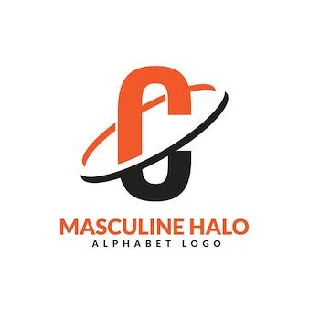 Lettre c orange et noir anneau géométrique masculin logo vector illustration icône