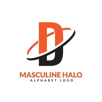 Lettre d orange et noir anneau géométrique masculin logo vector illustration icône