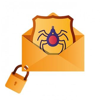 Lettre ouverte avec icônes isolé bouclier et fenêtre