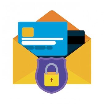 Lettre ouverte avec icônes isolés de carte de crédit