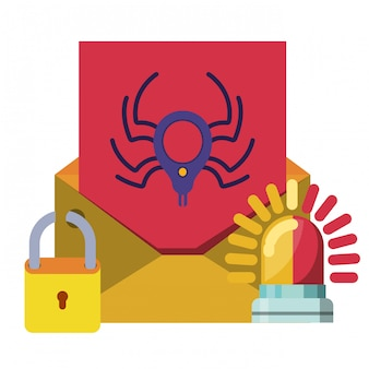 Lettre ouverte avec icônes de message araignée isolé