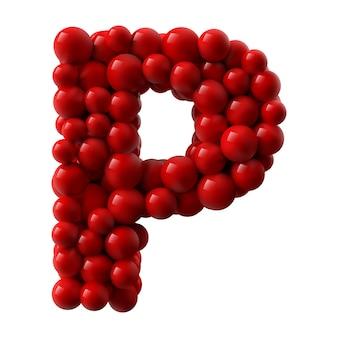 Lettre p avec des boules brillantes de couleur rouge. illustration réaliste.
