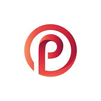 Lettre p dans le modèle de logo de cercle