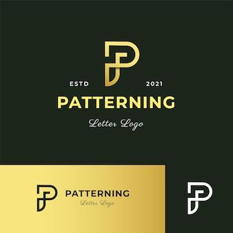 Lettre p logo moderne icône illustration ligne rayures style