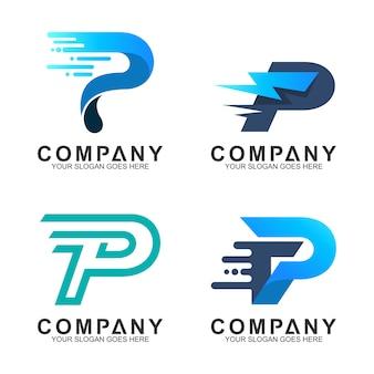 Lettre p logo set