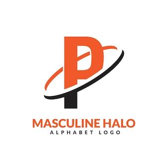 Lettre p orange et noir anneau géométrique masculin logo vector illustration icône