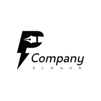 Lettre p pen logo design template education et law firm company symbole
