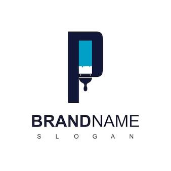 Lettre p pour le logo d'entreprise de peinture
