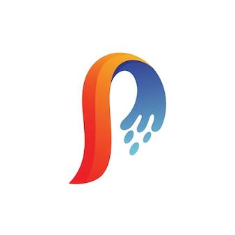 Lettre p splash logo vecteur