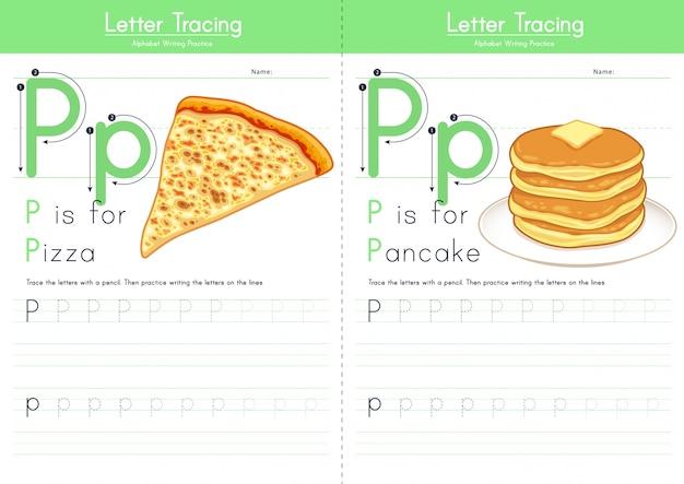 Lettre p traçant l'alphabet alimentaire