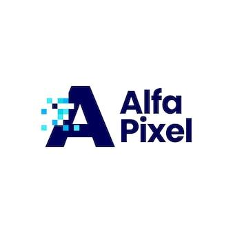 Une lettre pixel mark digital 8 bit logo vector icon illustration