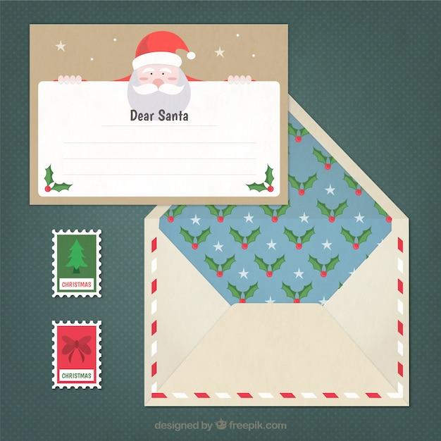 Lettre pour le père noël et jolie enveloppe avec des timbres