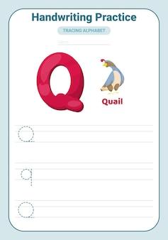 Lettre de pratique de traçage de l'alphabet q. feuille de travail de pratique de traçage. page d'activité d'apprentissage de l'alphabet.