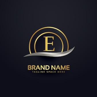 Lettre premium e logo design modèle doré