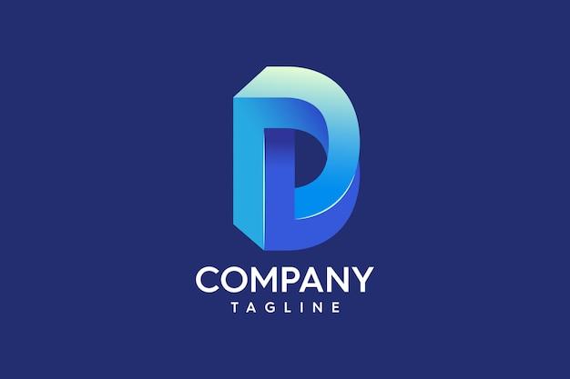 Lettre d professionnel abstrait 3d logo