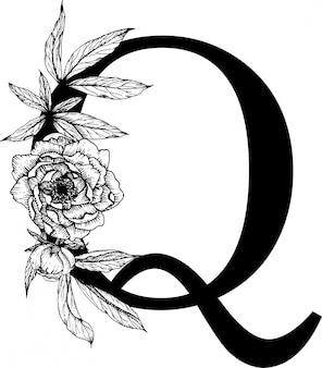 Lettre q, alphabet floral