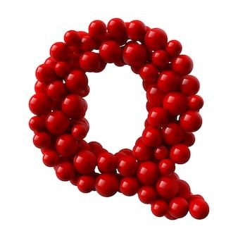 Lettre q avec des boules brillantes de couleur rouge. illustration réaliste.
