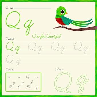 Lettre q feuille de calcul oiseau quetzal
