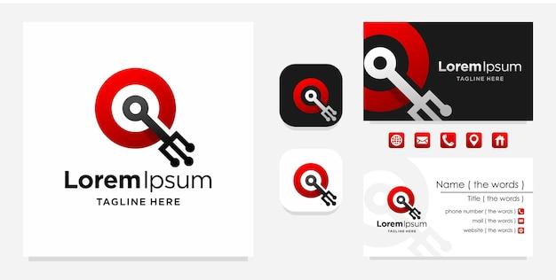Lettre q logo numérique avec conception de carte de visite