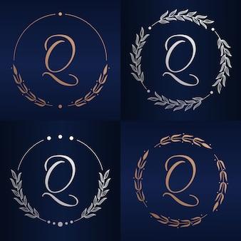Lettre q avec modèle de logo de cadre floral