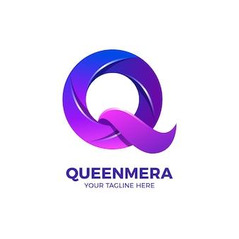 Lettre q en modèle de logo de couleur dégradé violet