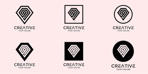 Lettre q avec modèle de logo de diamant abstrait
