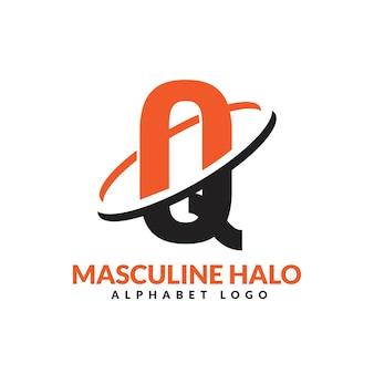 Lettre q orange et noir anneau géométrique masculin logo vector illustration icône