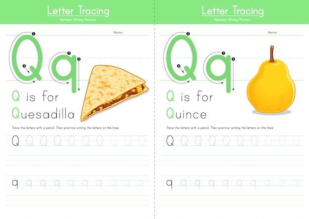 Lettre q traçant l'alphabet alimentaire