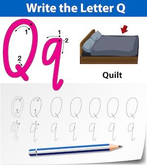 Lettre q traçant des feuilles d'alphabet