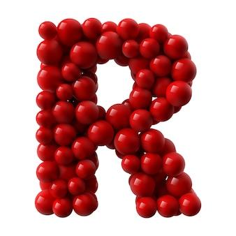 Lettre r avec des boules brillantes de couleur rouge. illustration réaliste.
