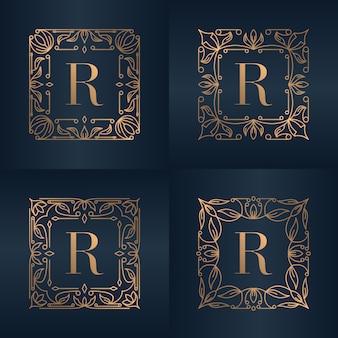 Lettre r avec cadre floral d'ornement de luxe