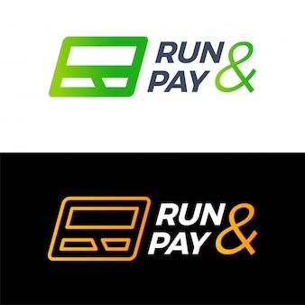 Lettre r courir et payer le logo de carte de crédit technologie de l'argent.