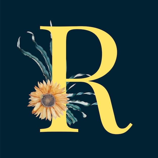 Lettre r avec des fleurs