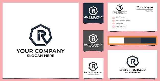 Lettre r hammer logo services de bricoleur conception de logo de vecteur et conception de carte de visite vecteur premium