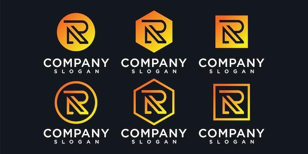 Lettre r logo avec concept de consultation de la société de financement initiale