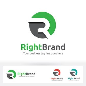 Lettre r logo, lettre r dans le cercle forme avec une ombre plate