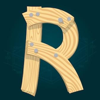 Lettre r - police vectorielle stylisée faite de planches de bois martelées avec des clous en fer.