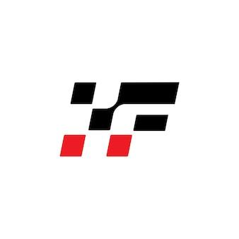 Lettre r racing flag logo design vector